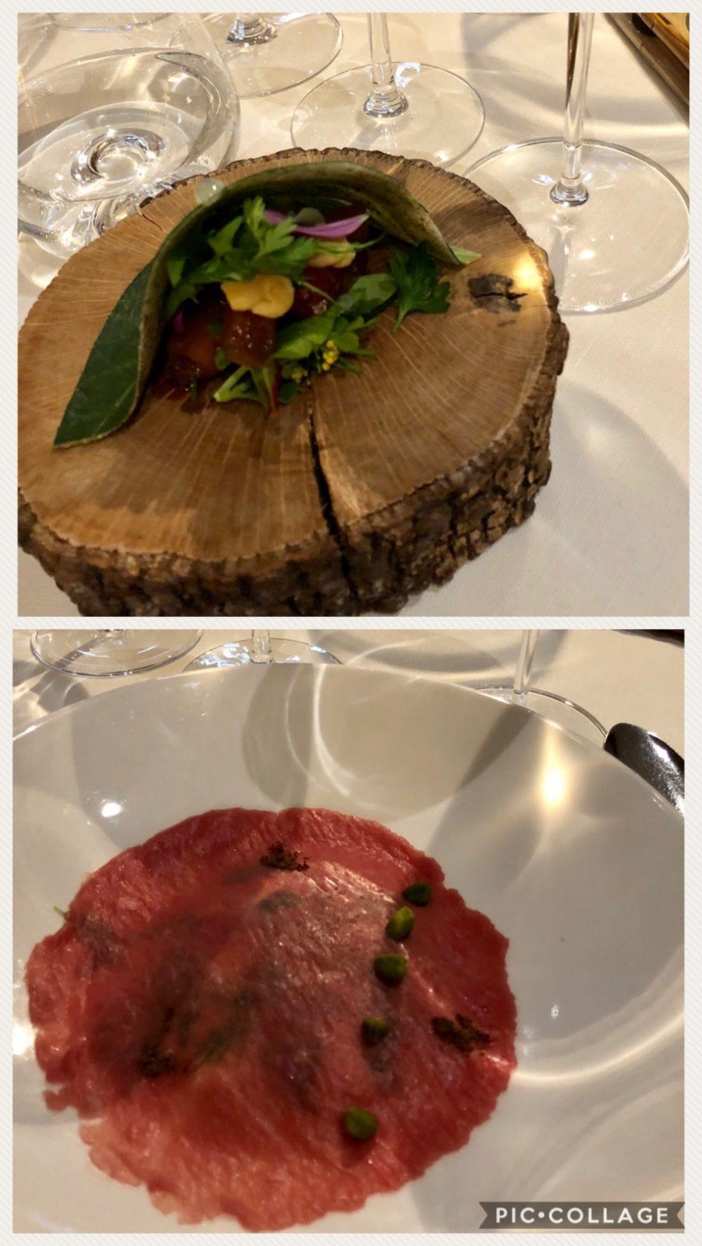 I piatti preparati dallo chef Roy Caceres del Metamorfosi, spumante di Corteaura - Foglia di grano, Risotto Rosso