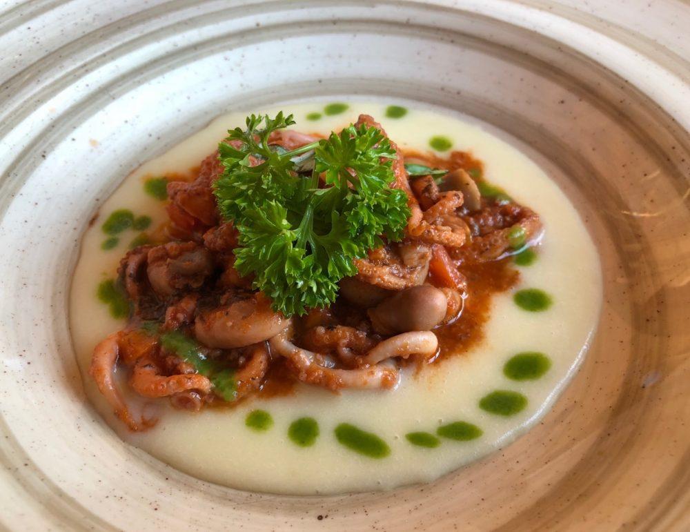 Vigneto, moscardini in umido con crema di patate
