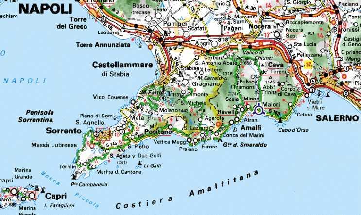 Cartina Geografica Della Costiera Amalfitana.Guida Enogastronomica Della Costiera Amalfitana Trattorie