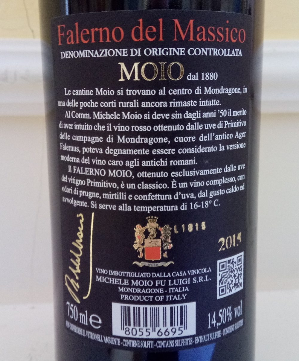 Controetichetta Falerno del Massico Primitivo Doc 2015 Michele Moio