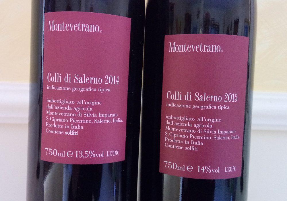 Controetichette Montevetrano Colli di Salerno Igt 2014 e 2015
