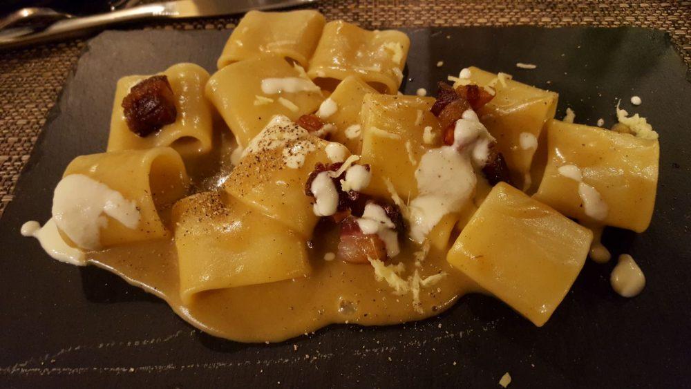 Il portico del gusto , pasta e patate con pancetta e zenzero