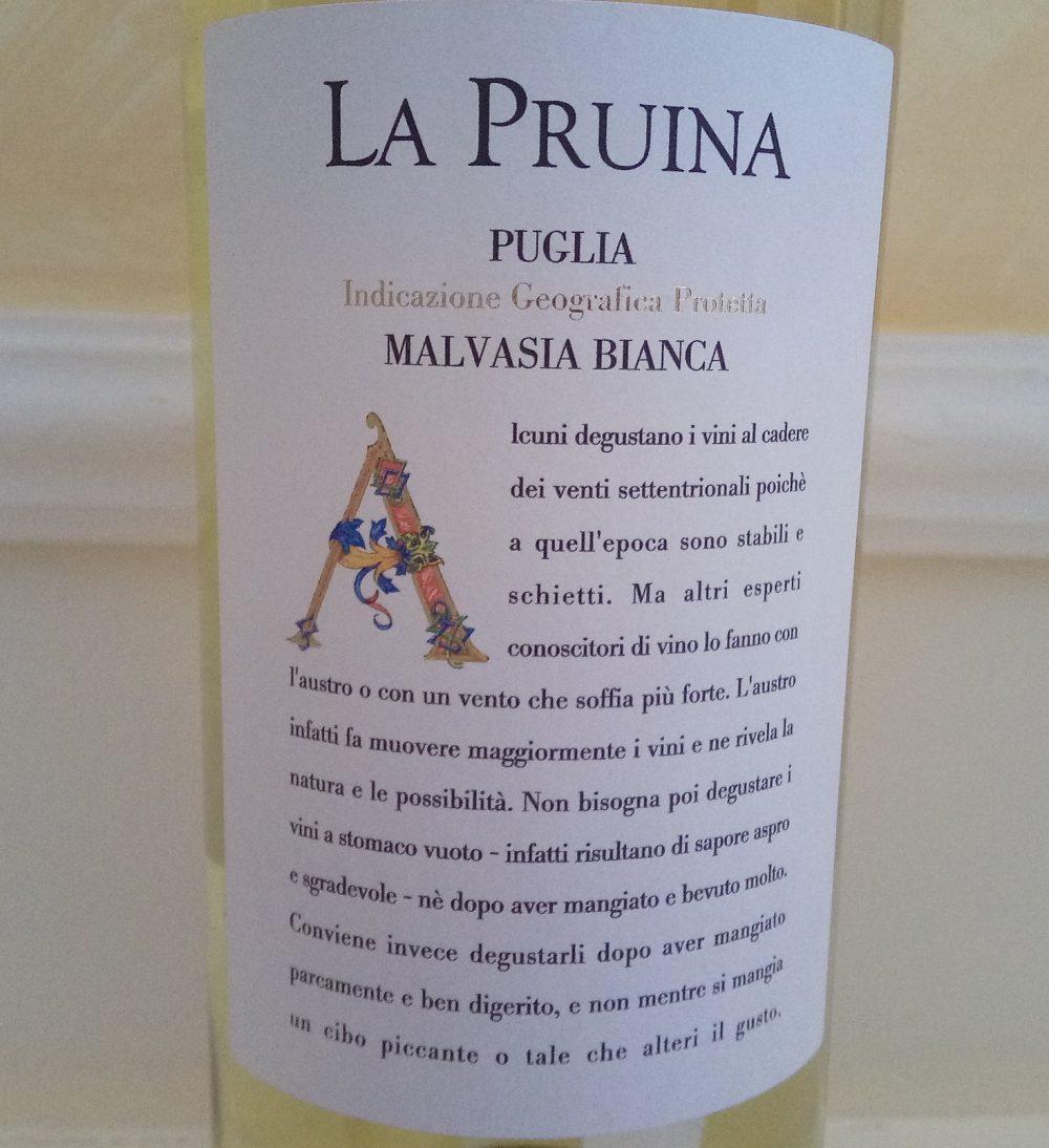 Malvasia Bianca Puglia Igp 2016 La Pruina