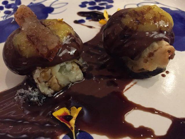 La Caravella, il Menu dei 60 anni,melanzana al cioccolato al cucchiaio