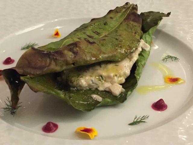La Caravella, il Menu dei 60 anni, trito di pesce del giorno grigliato in foglia di limone