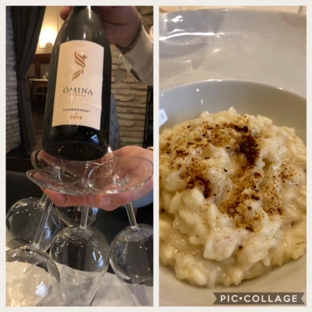 Chardonnay IGP 2016 Omina Romana accostato al Risotto cacio e pepe, vaniglia, scorza di limone e liquirizia