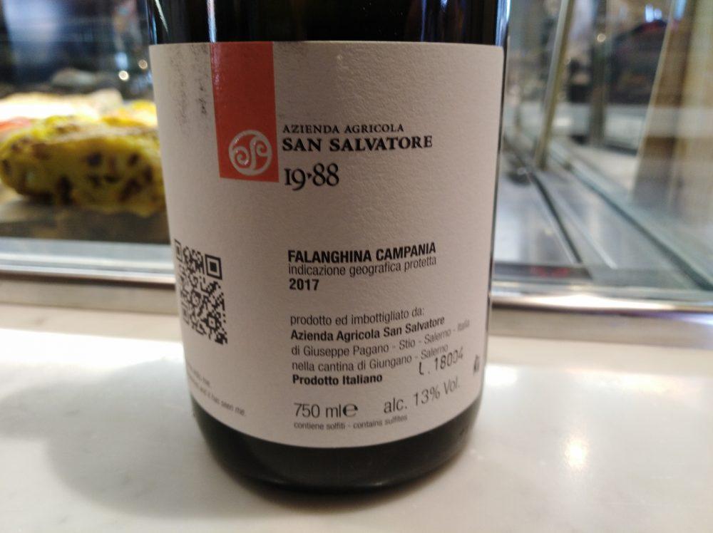 Controetichetta Falanghina Campania Igp 2017 San Salvatore
