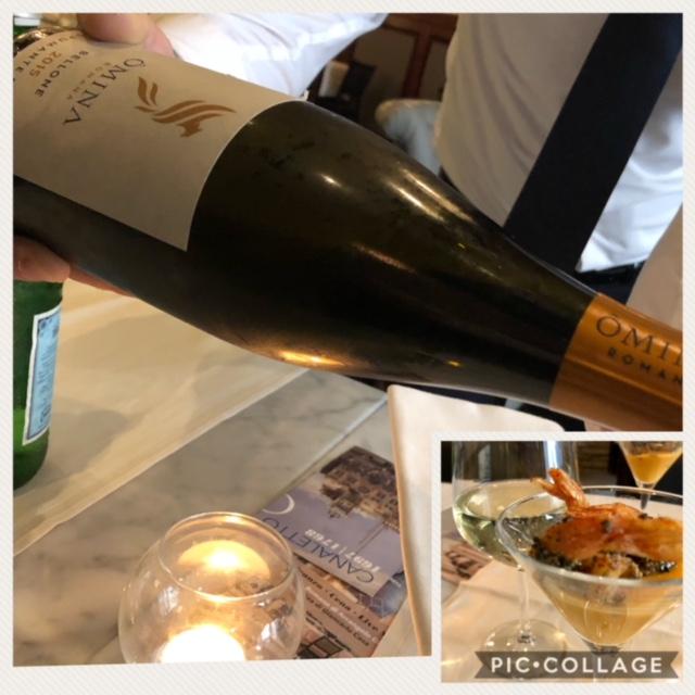Lo Spumante Brut 2015 di Omina Romana servito con cocktail di scampi e gazpacho