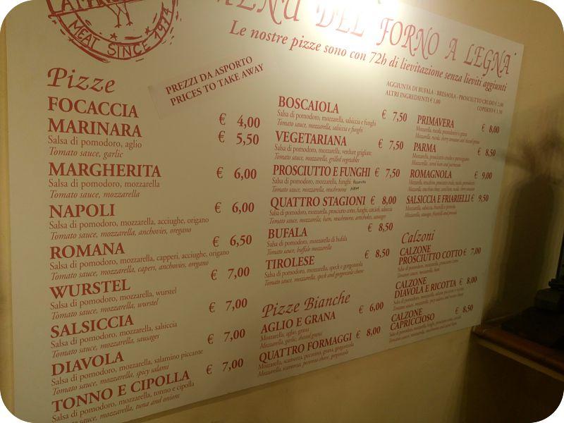 Firenze La Mangiatoia, menu'
