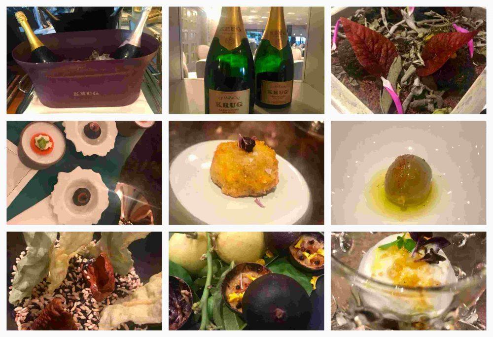 Grand Hotel Parker's - Krug Lounge e Aperitivo, il foie gras, polpettina di agnello, meringhe dell'orto, finta oliva ricostruita, aria di pomodoro