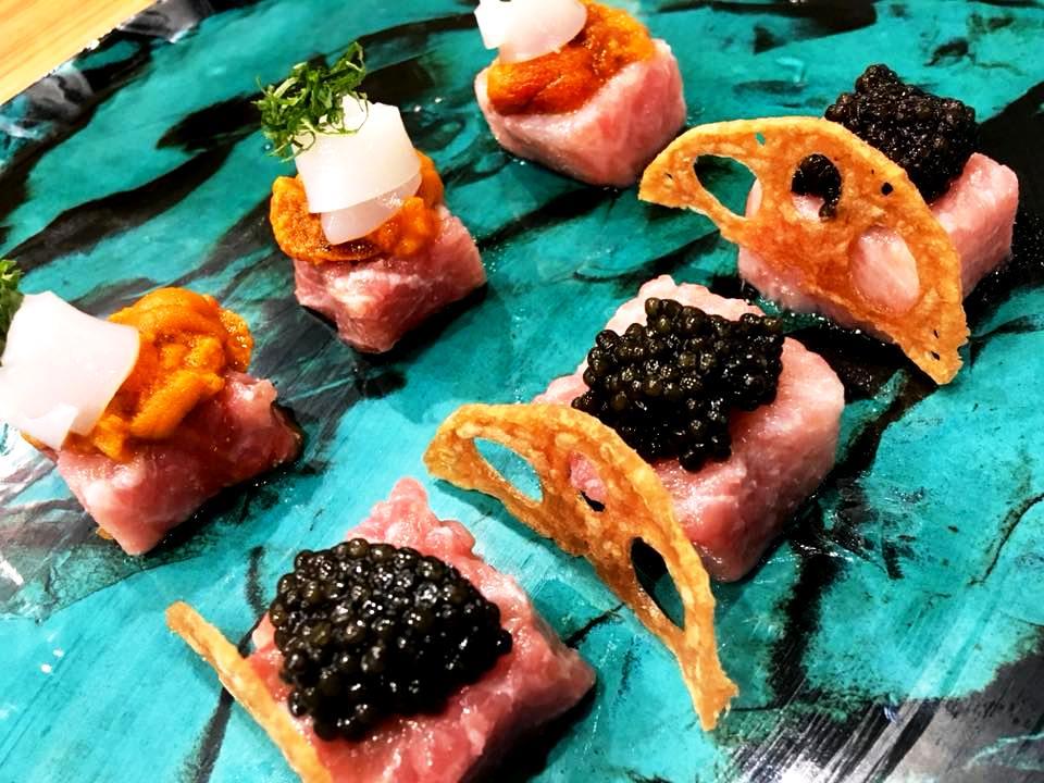 Tabi Restaurant - Otoro & Caviale con Loto Fritto - Otoro, Calamaro & Riccio di Santa Lucia