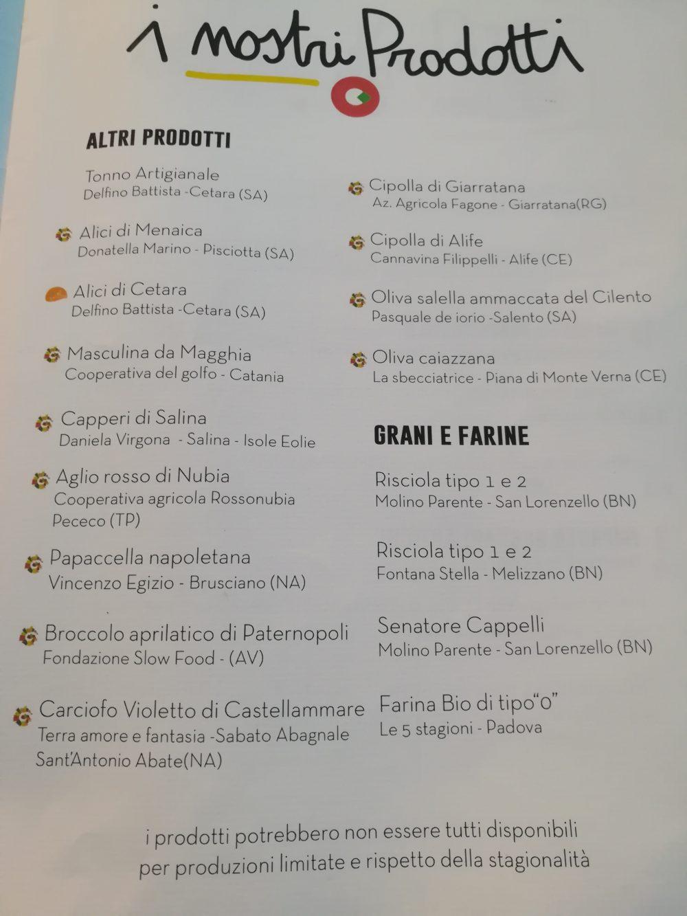 Pizzeria Millenium - Prodotti utilizzati