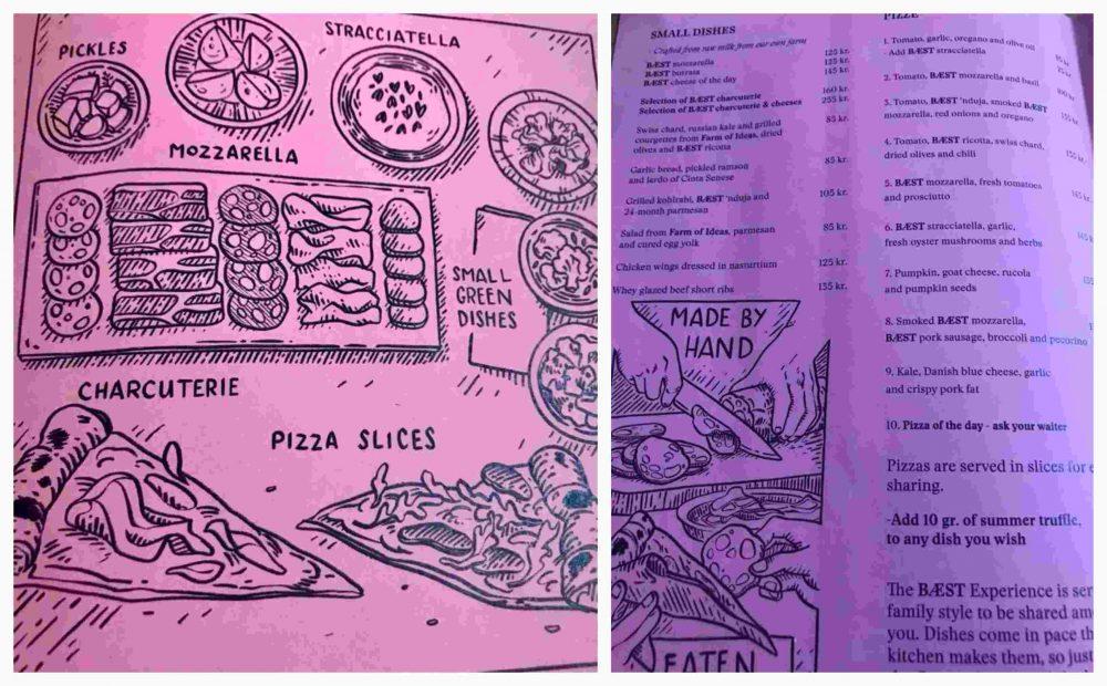Baest, menu'