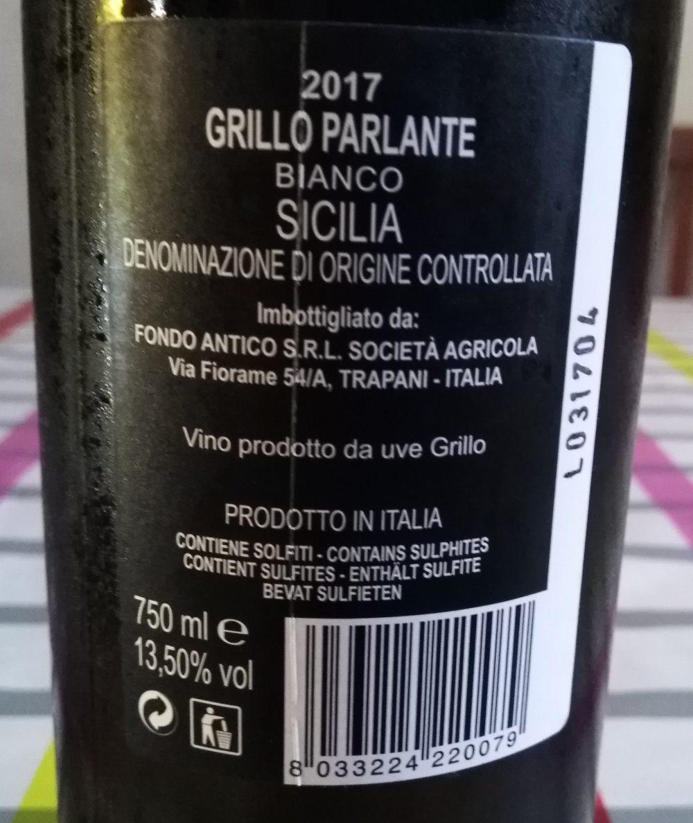 Controetichetta Grillo Parlante Bianco Sicilia Doc 2017 Fondo Antico Vino vincitore a Radici del Sud 2017