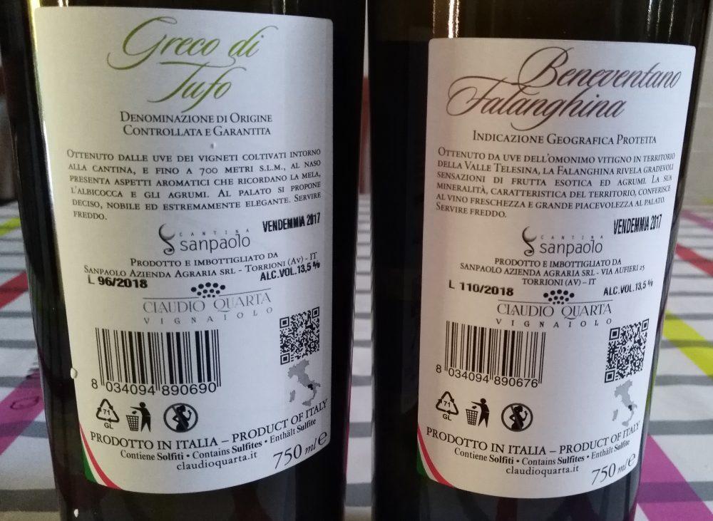 Vini bianchi Sanpaolo vincitori a Radici del Sud 2018