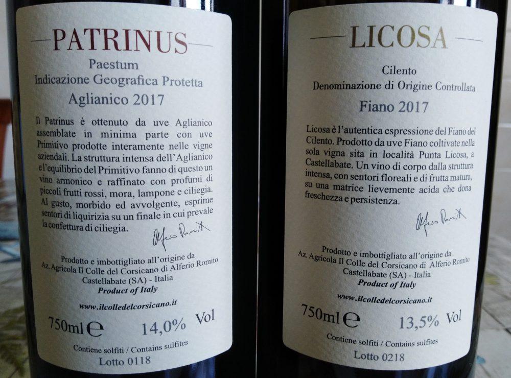 Controetichette vini Il Colle del Corsicano