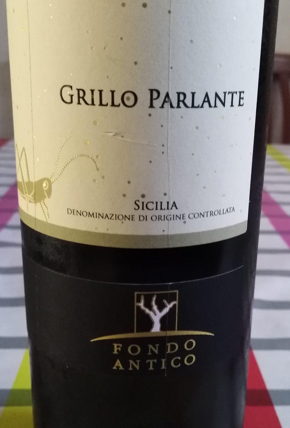 Grillo Parlante Bianco Sicilia Doc 2017 Fondo Antico Vino vincitore a Radici del Sud 2018