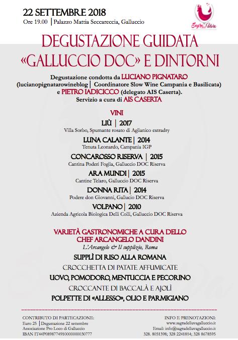 22 settembre Degustazione guidata - Galluccio DOC e dintorni