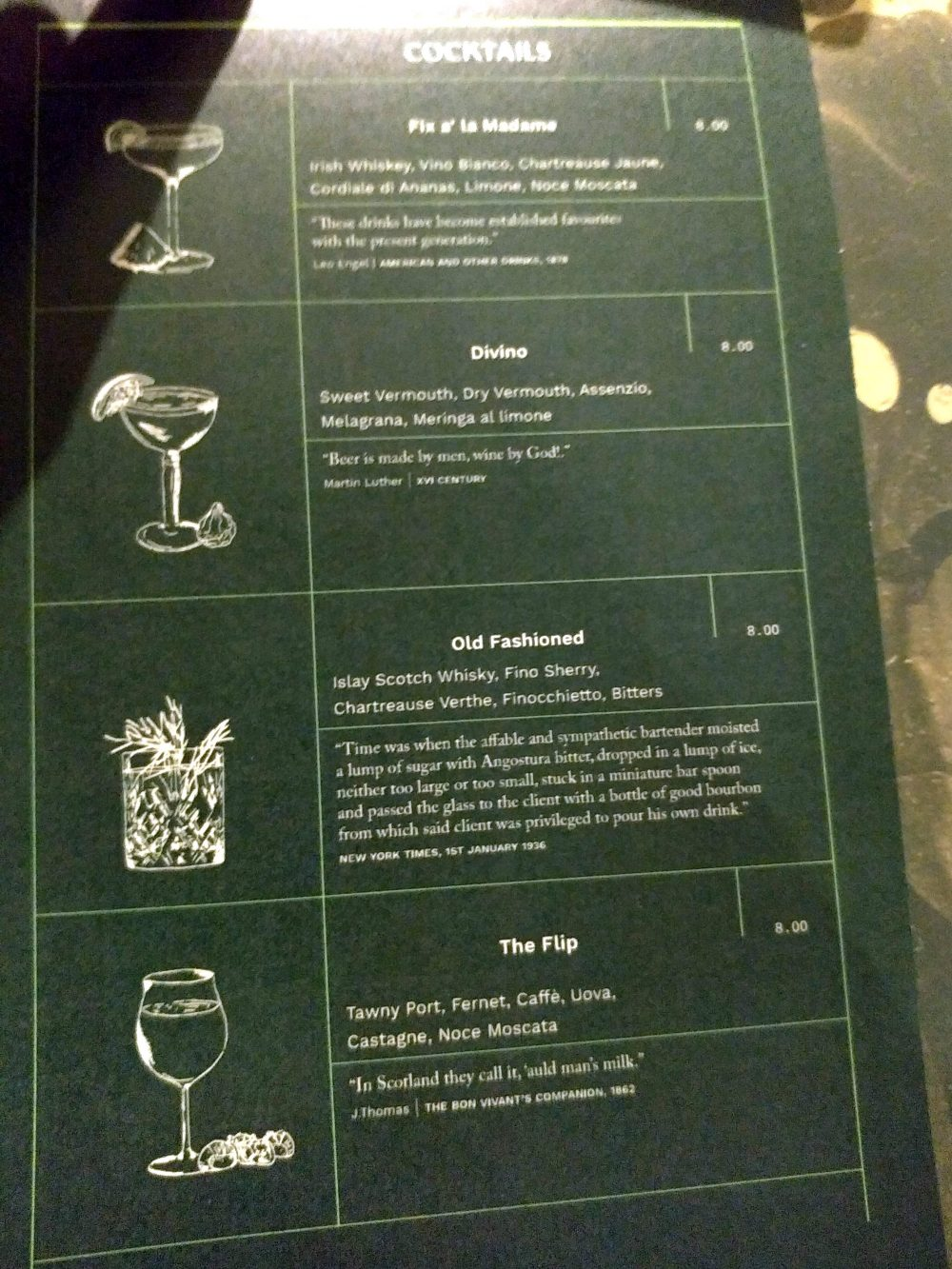 Apotheca - Dispensa e Dopolavoro a Caserta. Menu cocktail