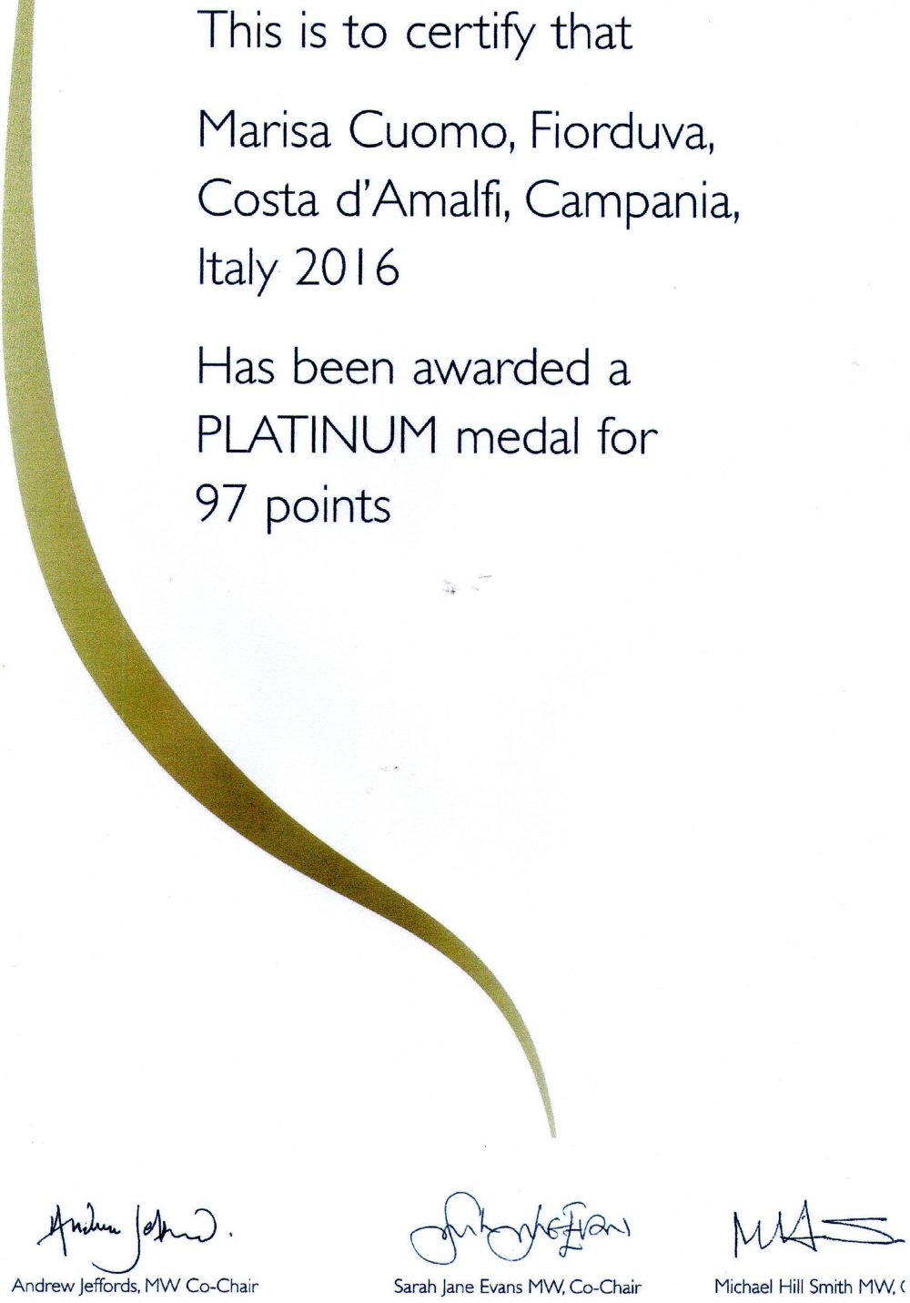 Certificato autentico di Decanter