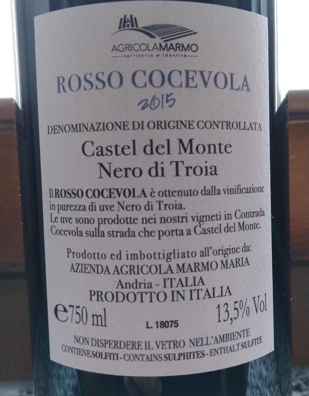 Controetichetta Rosso Cocevola Castel del Monte Nero di Troia Doc 2015 Agricola Marmo