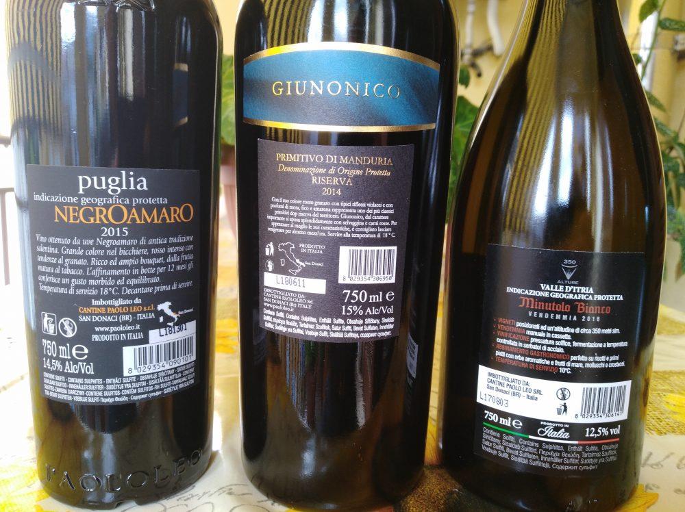 Controetichette vini di Paolo Leo vincitori a Radici del Sud 2018