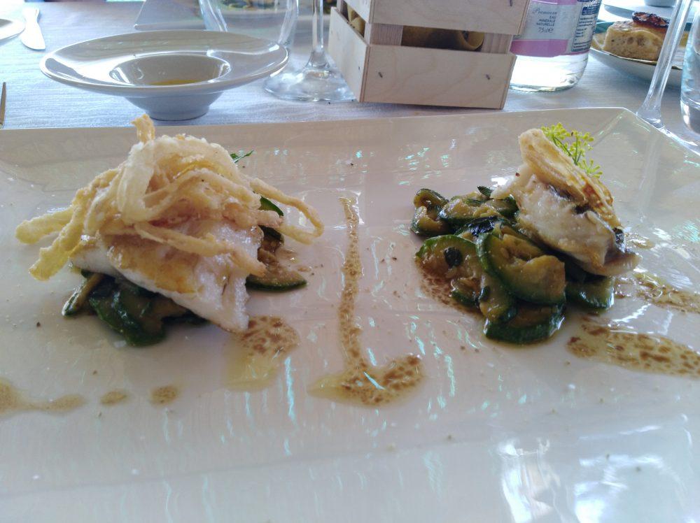 Ristorante Melchio', Pezzogna scottata, zucchine stuifate e cipolla rossa fritta