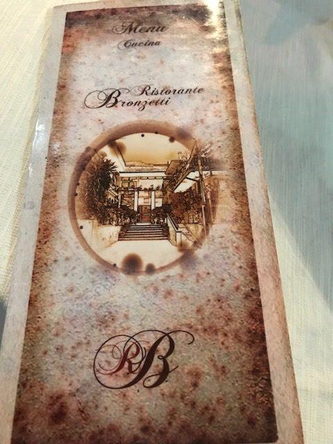 Ristorante Pizzeria Bronzetti- Menu'