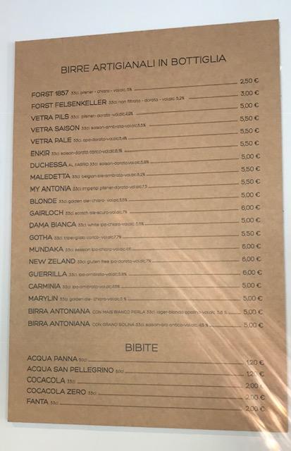 Sciue' Pizzainteglia - Lista delle birre