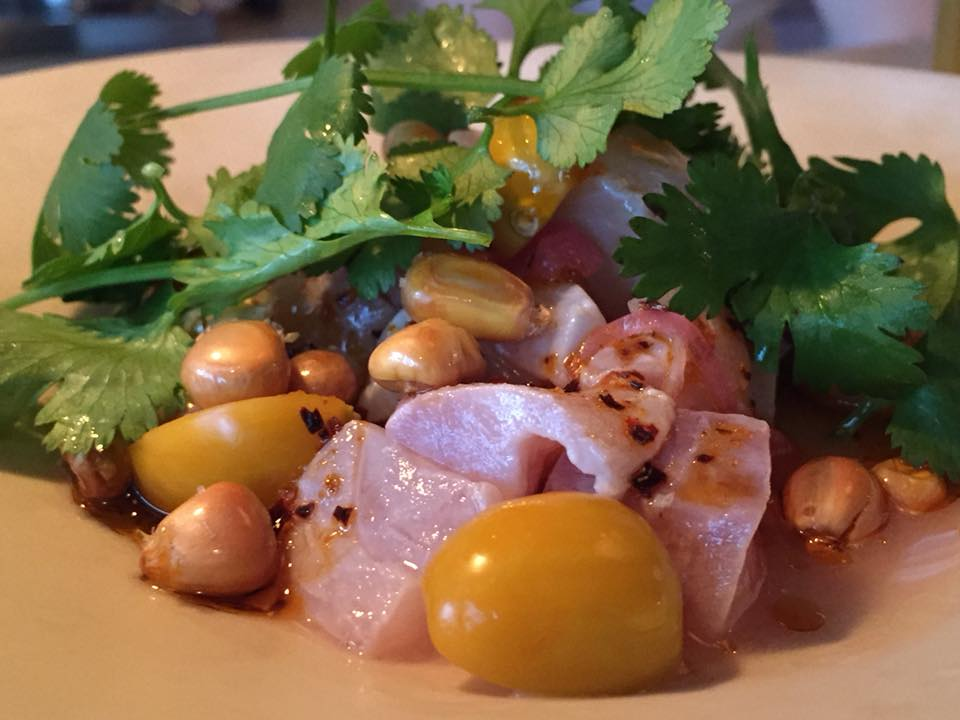 Clamato, Ceviche di merluzzo con physalis peruviana e mais