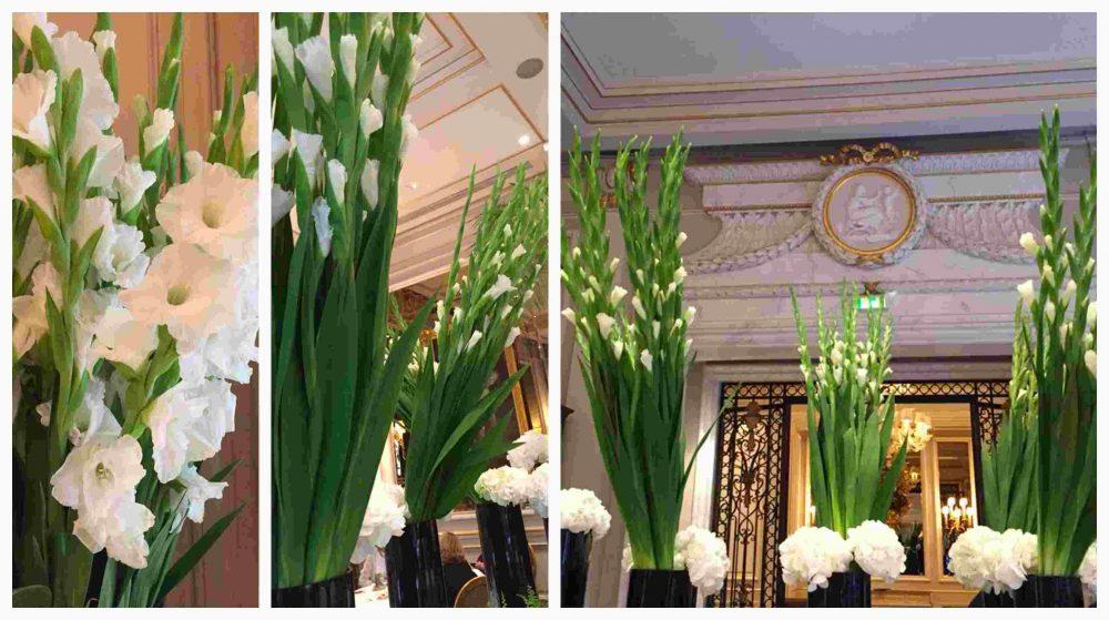 Le Cinq, gladioli e ortensie in sala