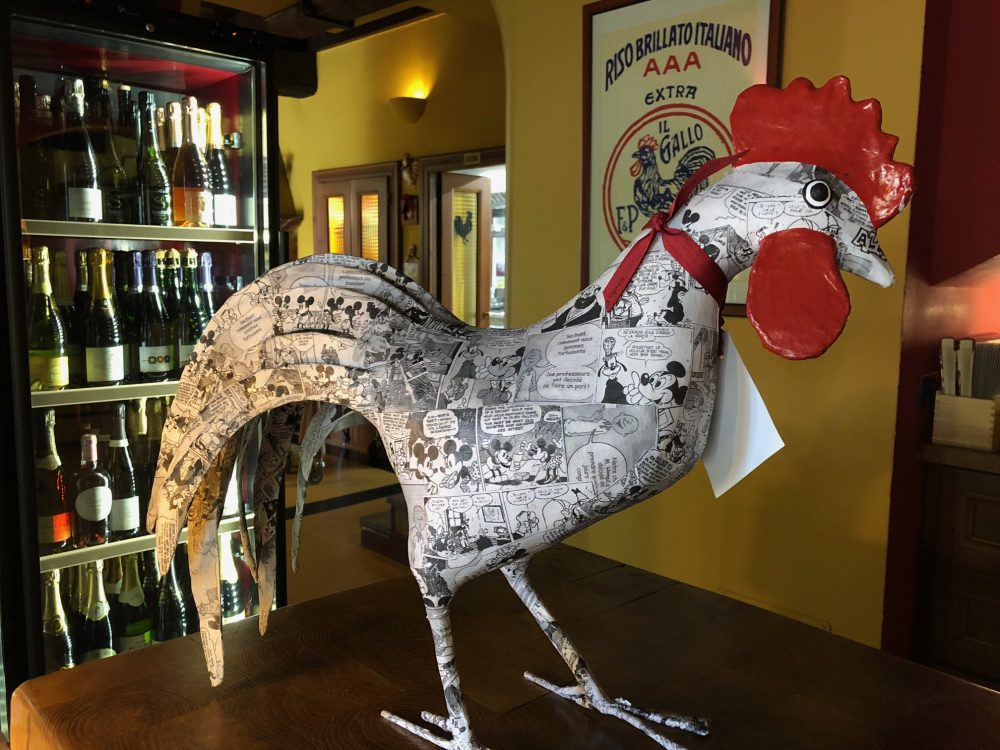 Antica Trattoria del Gallo, gallo in versione cartoon