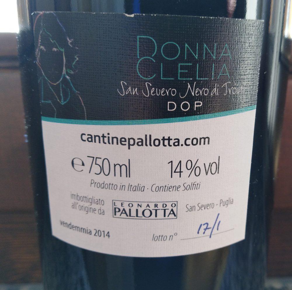 Controetichetta Donna Clelia San Severo Nero di Troia Dop 2014 Leonardo Pallotta