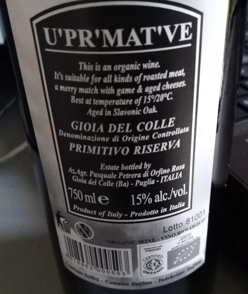 Controetichetta Fatalone Primitivo Gioia del Colle Riserva Bio Doc 2015 Petrera