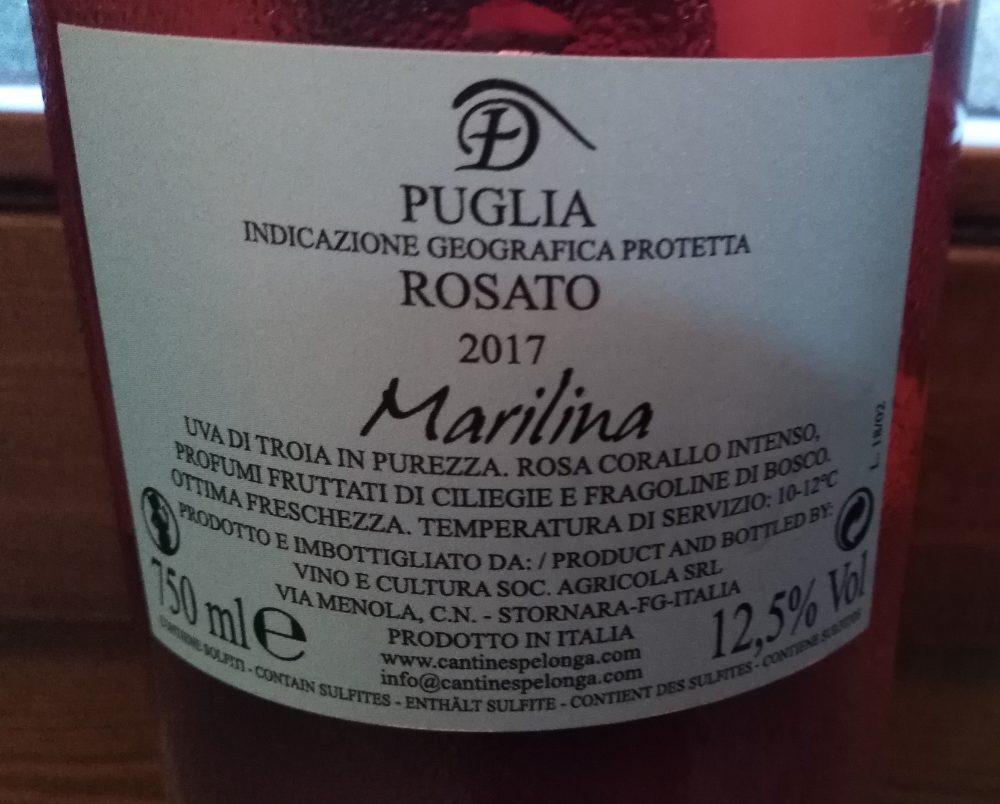 Controetichetta Marilina Rosato Puglia Igp 2017 Cantine Spelonga