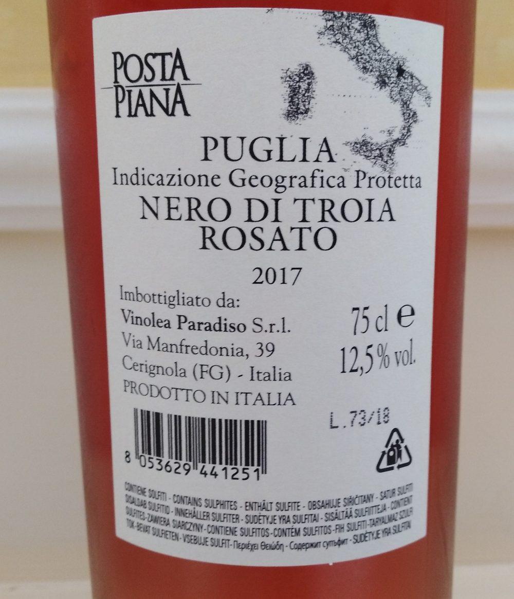 Controetichetta Posta Piana Nero di Troia Rosato Puglia Igp 2017 Cantine Paradiso