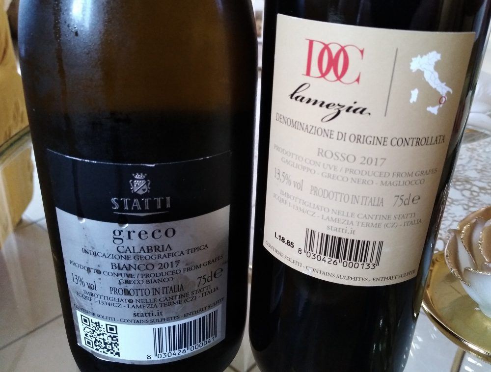 Controetichette vini Cantine Statti