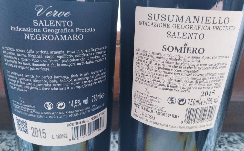 Controetichette vini de Le vigne di Sammarco