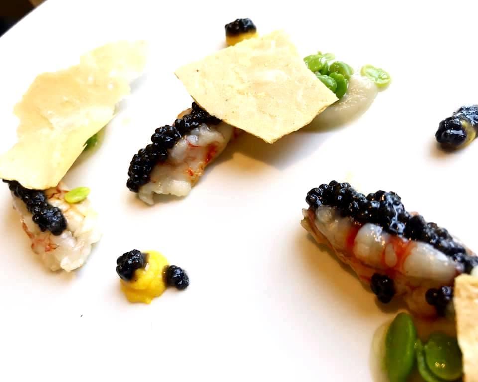 NO.RO - Mazzancolla scottata, Caviale, Finocchio e Fave Fresche
