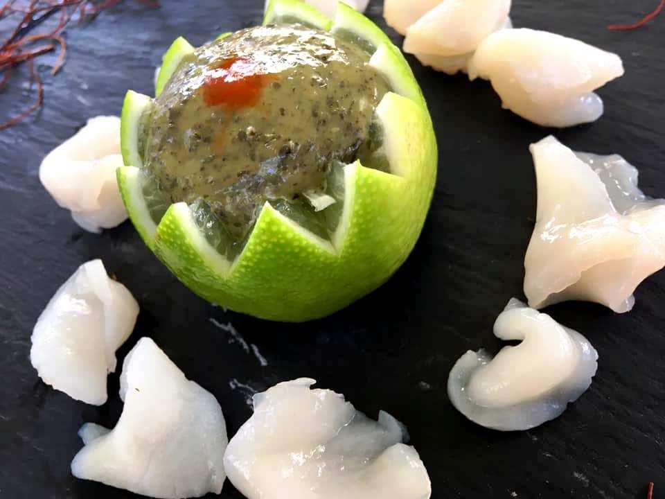 Nagairo - Carpaccio di Capasanta, Togarashi & Pesto di menta al Lime
