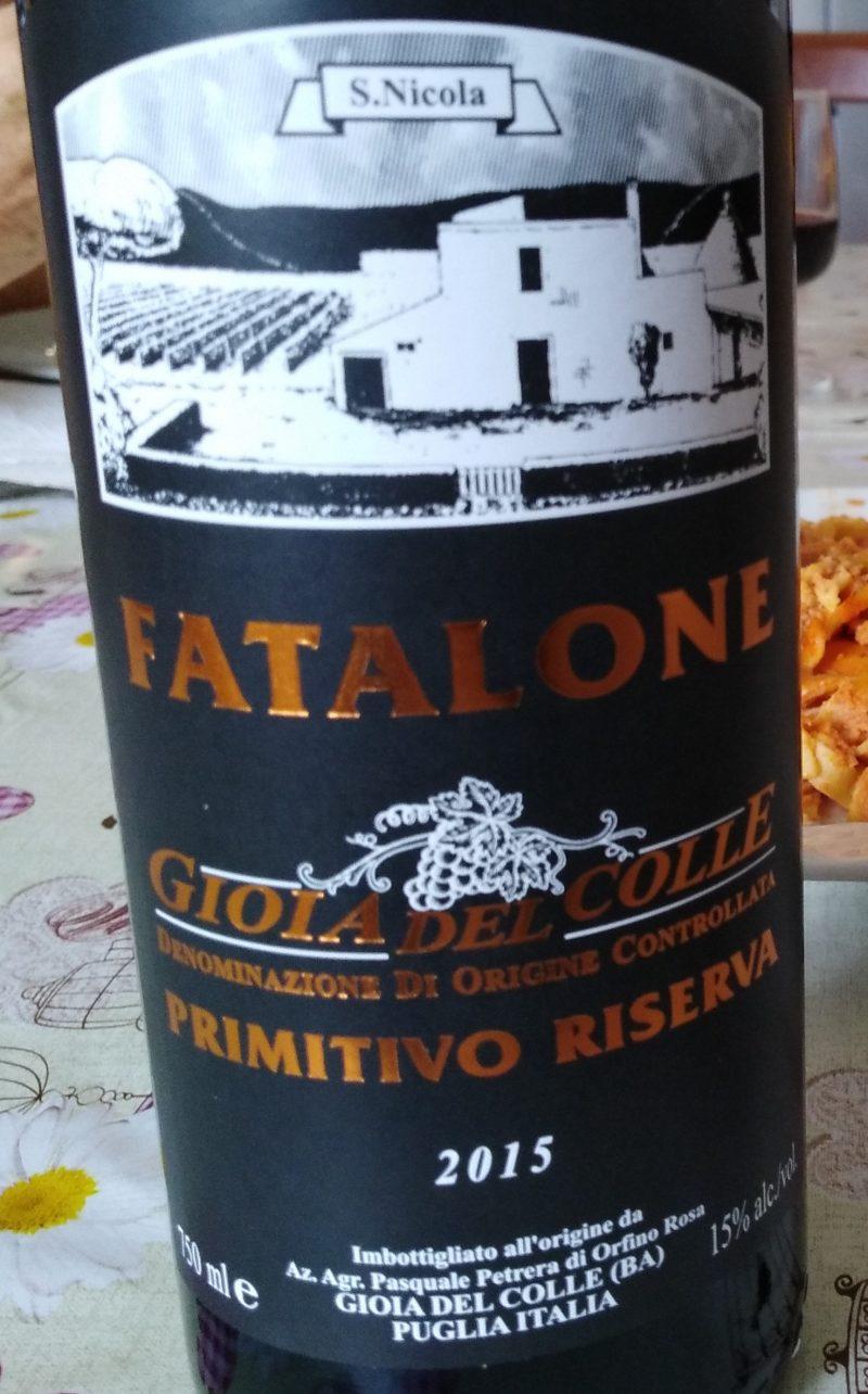 Fatalone Primitivo Gioia del Colle Riserva Bio Doc 2015 Petrera
