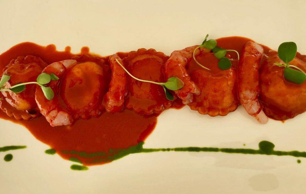 Florian Maison, San Paolo d'Argon, ravioli ripieni di burrata, gambero rosso e corallo
