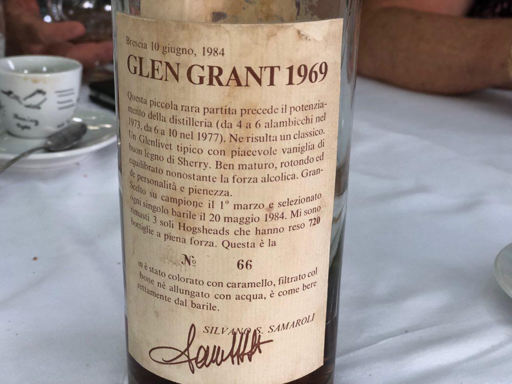 Osteria Grand Hotel, il distillato Glen Grant del 1969 firmato Samaroli e gentilmente offerto