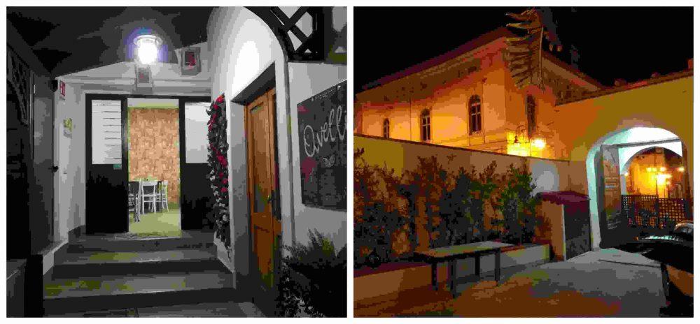 Pizzeria Avelli, il cortile e l'ingresso