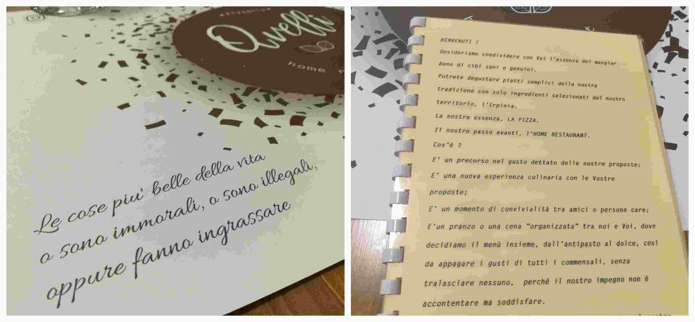 Pizzeria Avelli, la tovaglietta e la filosofia del locale