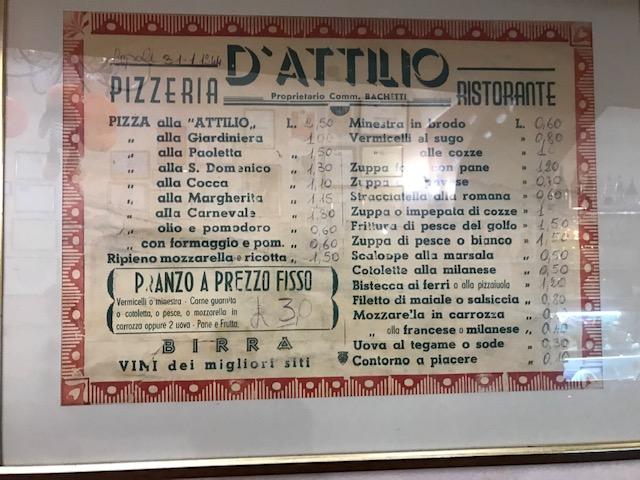 Pizzeria da Attilio - Menu' datato 1944