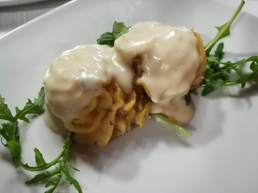 Al Poggio Antico - Polenta con Salsiccia e fonduta di formaggio