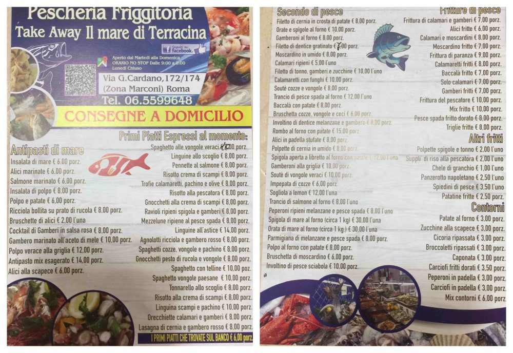 Il mare di Terracina - menu'