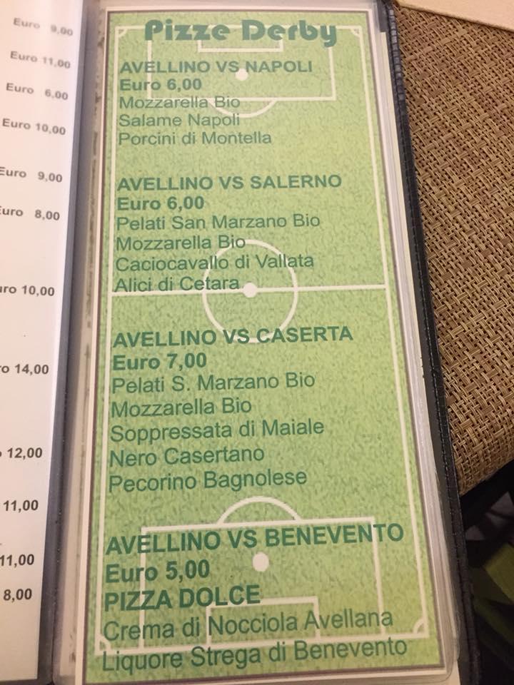 Abellinum, il menu con le pizze derby