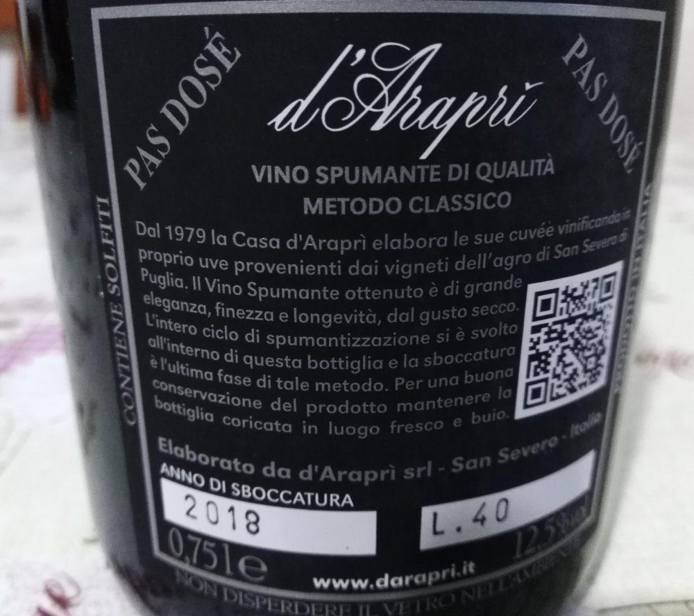 Controetichetta D'Arapri' Spumante Bainco Pas Dose' Metodo Classico D'Arapri'